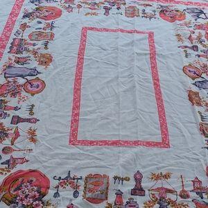 Vintage cottage core tablecloth
